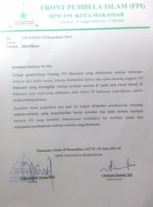 Klarifikasi FPI